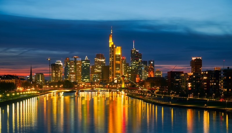 Frankfurt Am Main, Germany, during sunset