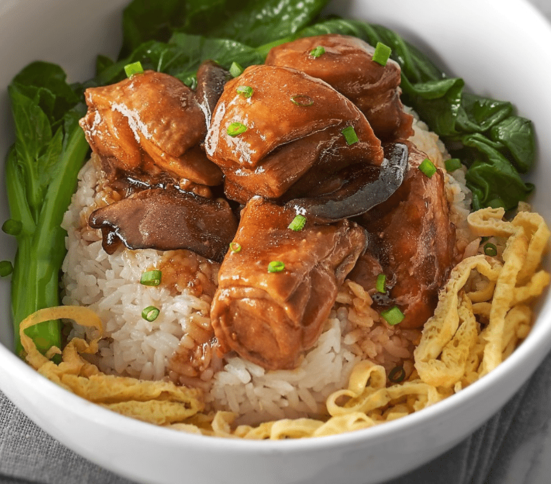 Chicken Rice with Braised Chicken + Chicken Soup