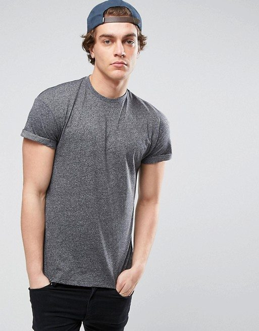 New Look T-Shirt With Roll Sleeve In Grey