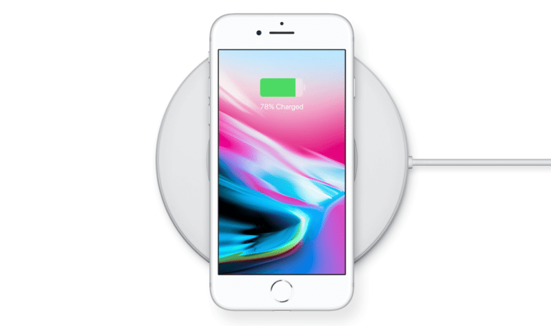 iPhone 8 on the wireless charging pad