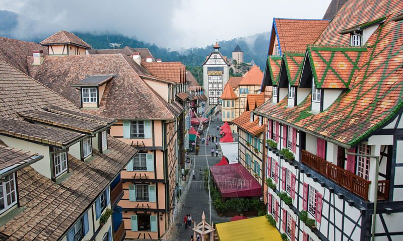 The streets of the French-themed resort Colmar Tropicale