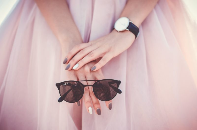 stylish pink dress with sunglasses