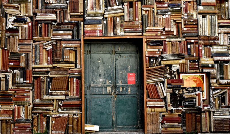 Door with lots of books on the walls surrounding it