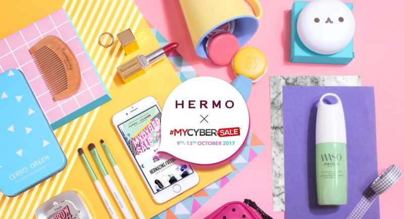 Hermo x MyCyberSale banner with makeup items and beauty tools