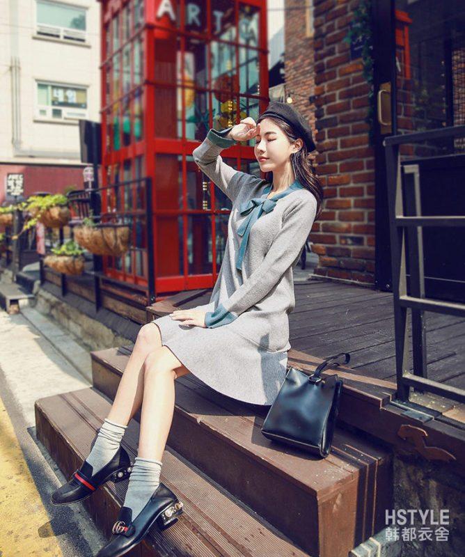 韩都衣舍2017韩版女秋新款裙子宽松显瘦长袖荷叶边连衣裙RW7126瑒
