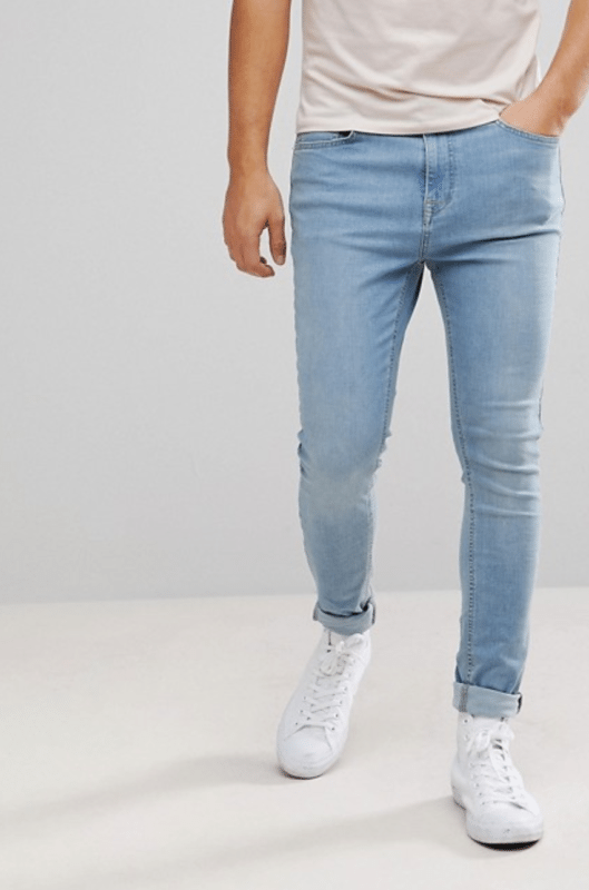 Brooklyn Supply Co Muscle Fit Jeans Bleached Blue ASOS