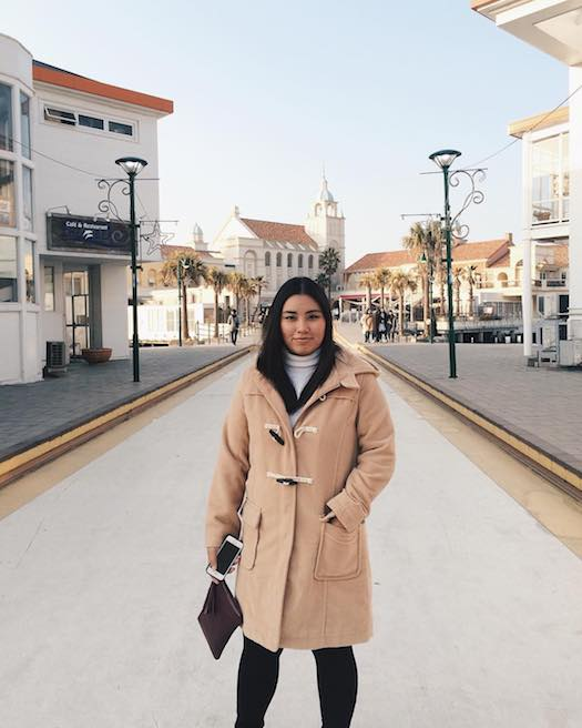 khaki fashionable winter duffle coat