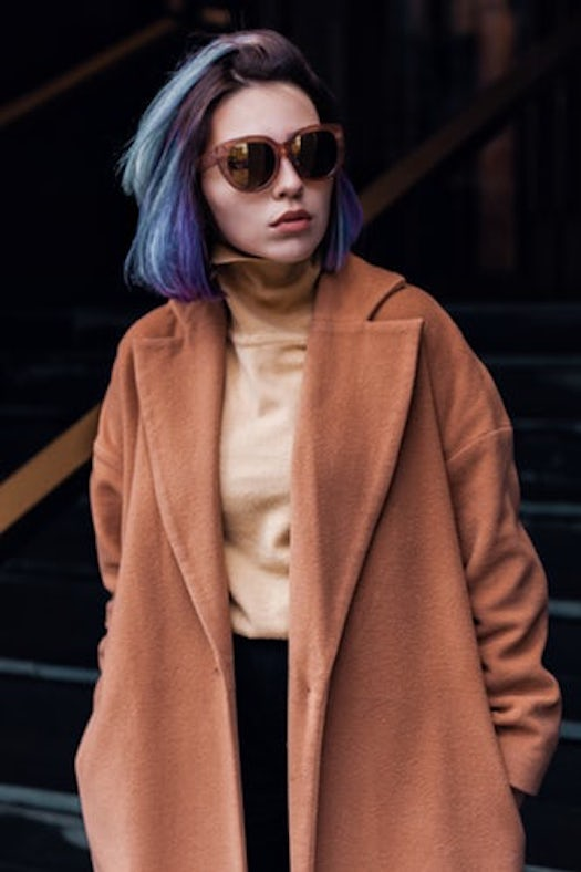 fashionable winter wool coat with glasses