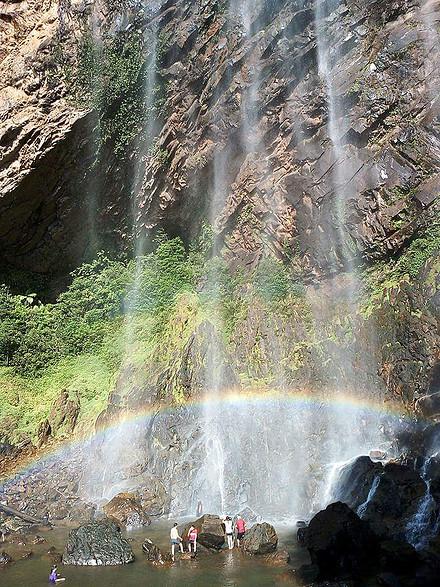 Rainbow waterfall at mount tapis