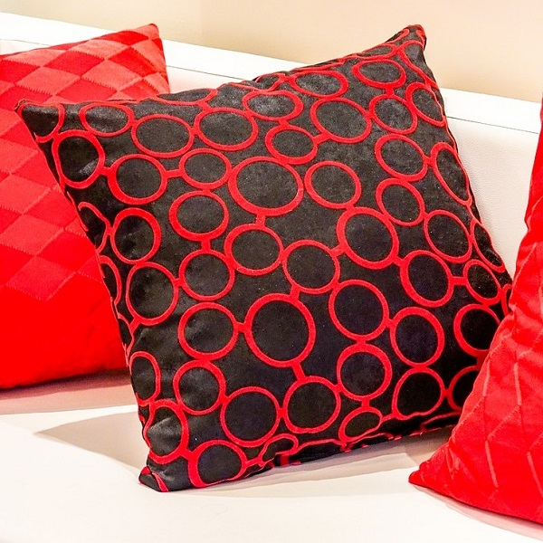 Cushion Red Sofa Black