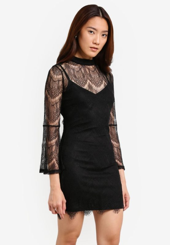 Something Borrowed's Flare Sleeve Lace Bodycon Dress on Zalora