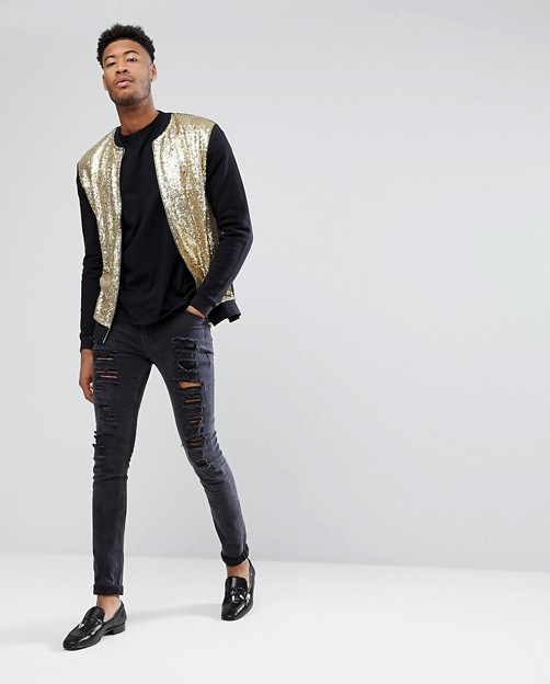 ASOS TALL Gold Sequin Bomber Jacket with ripped jeans, loafers and plain black tee