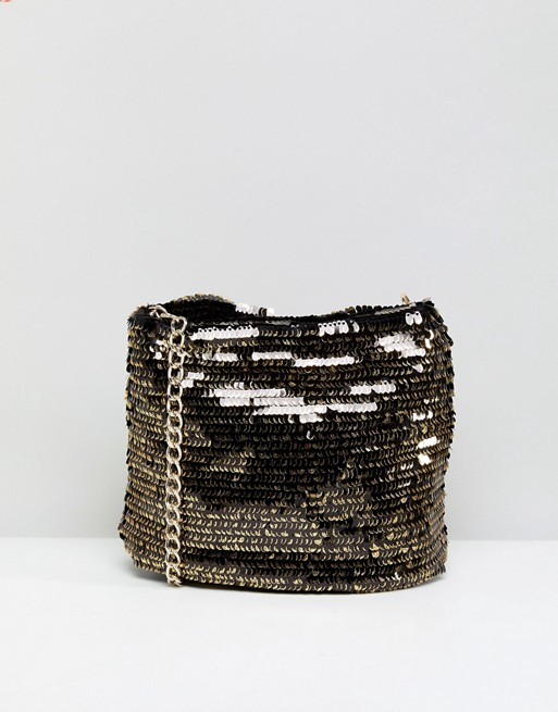 New Look Disco Sequin Chain Bucket Bag