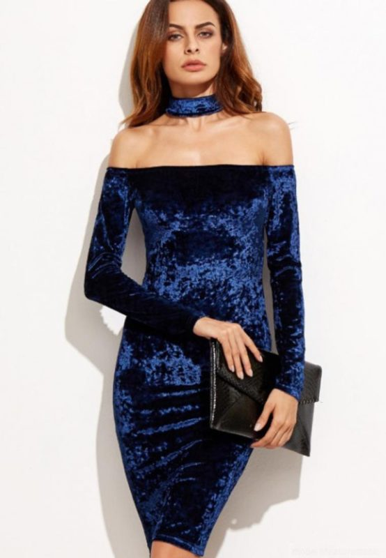 LOVENGIFTS Velvet Fit Dress With Choker (Cobalt Blue)