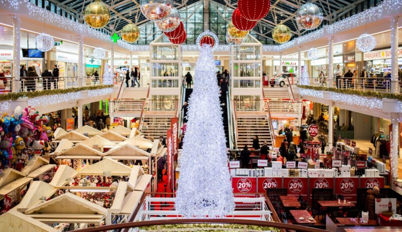 Shopping Mall with Christmas sales going on