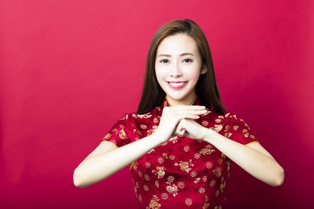 woman chinese new year greeting