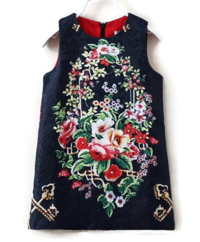 Navy Jacquard Floral Dress