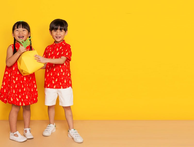 Festive Pop Pineapples Mandarin Shirt