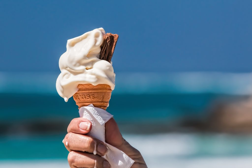Ice cream cone with beach background