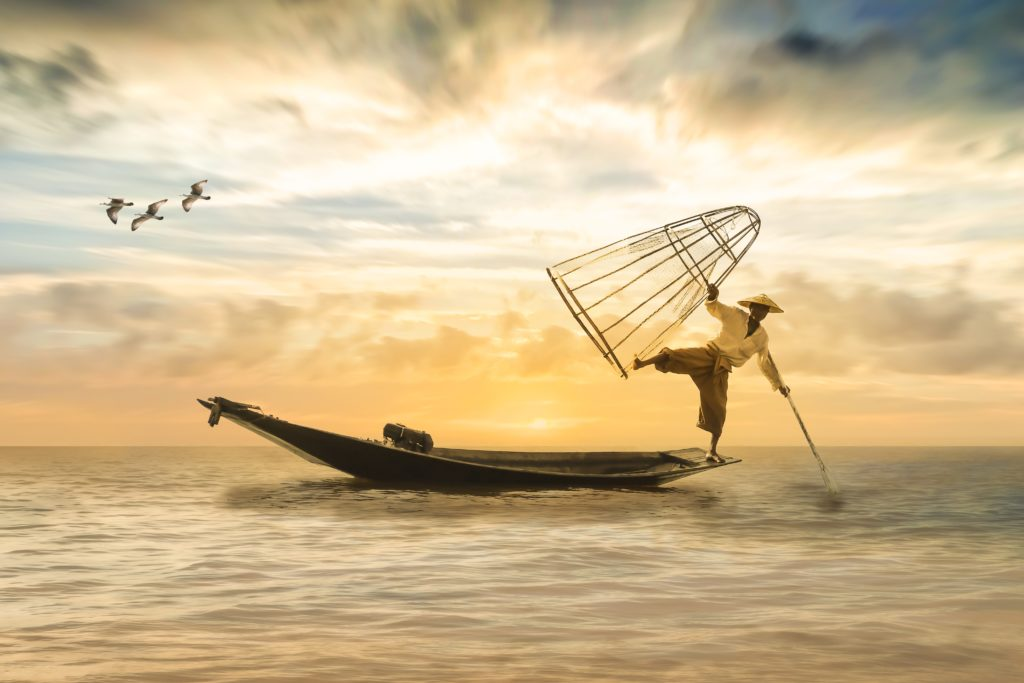 Traditional way of fishing on boat