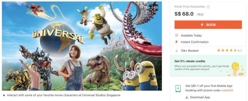 Klook Attraction Tickets Universal Studios Singapore USS