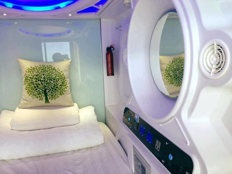 A sleeping capsule at Sim Hotel