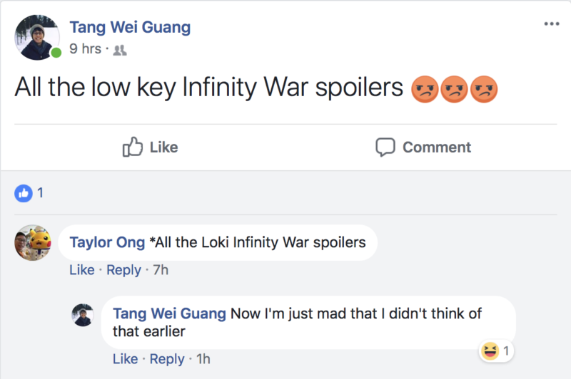 avengers infinity war spoiler facebook status