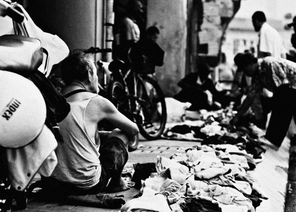 Black and white market scene