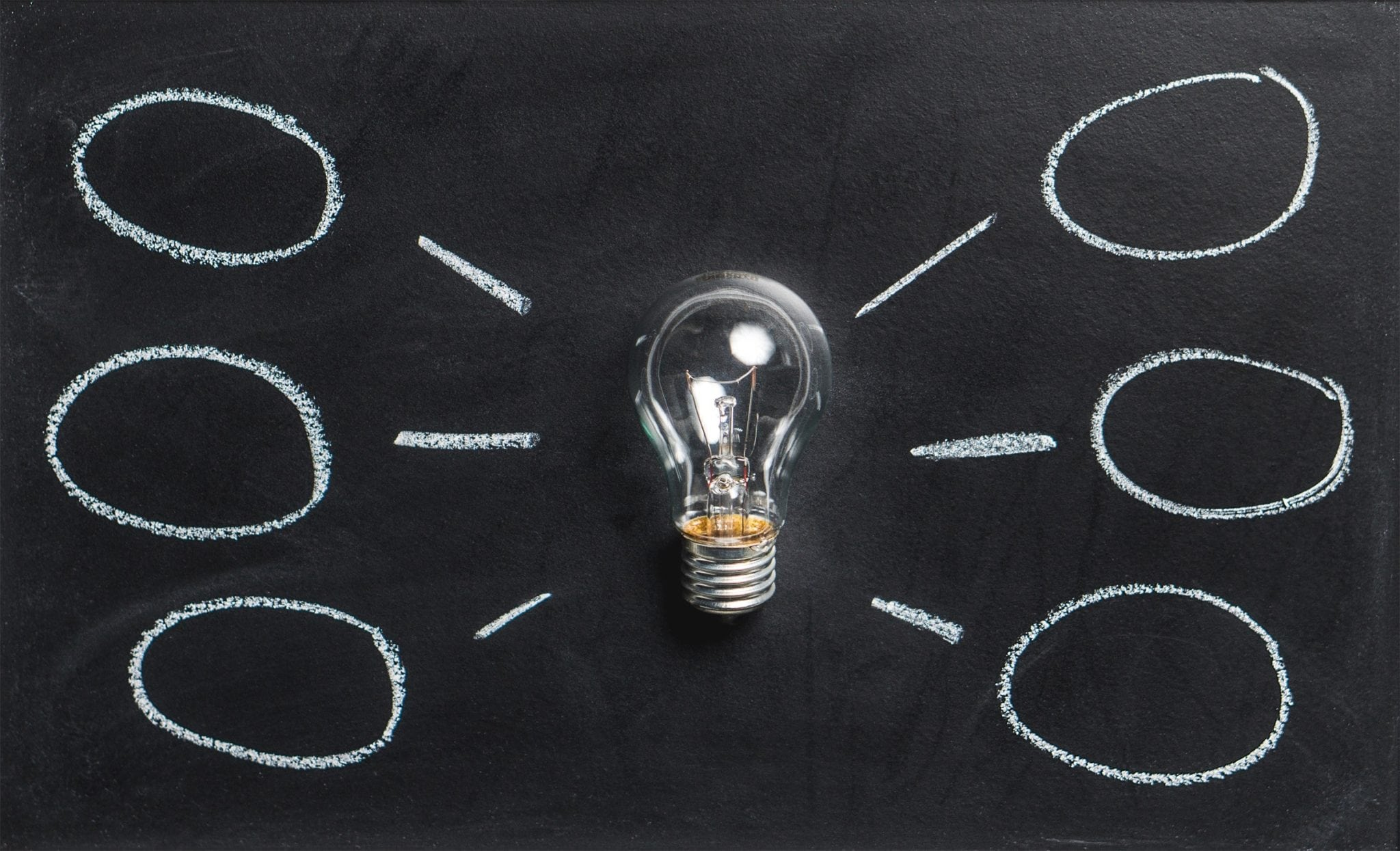lightbulb on a chalkboard with thought bubbles