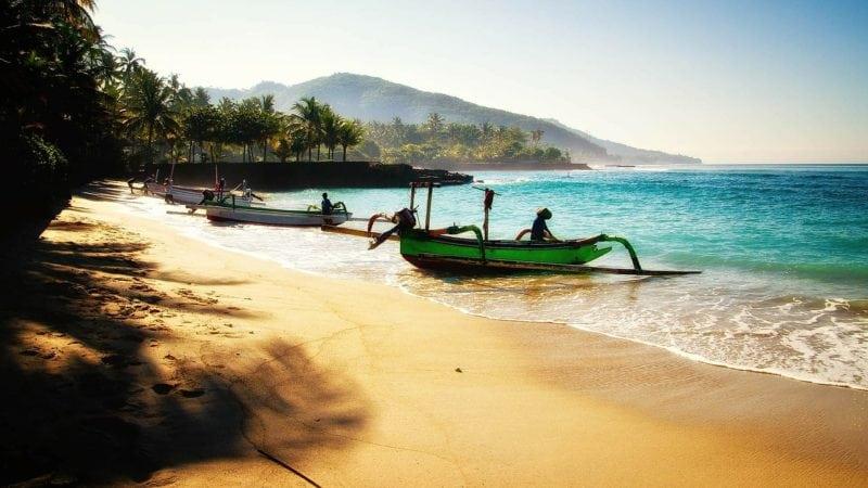 bali beach boats and mountain