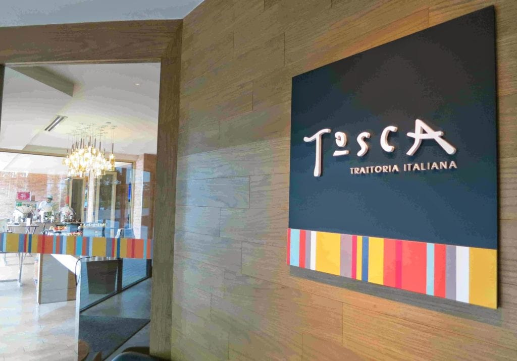 Tosca signage at front entrance to restaurant