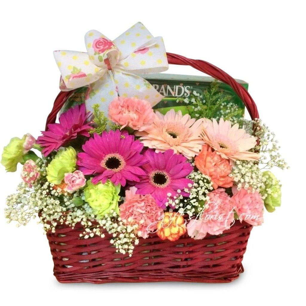 Flowers and essence of chicken gift basket