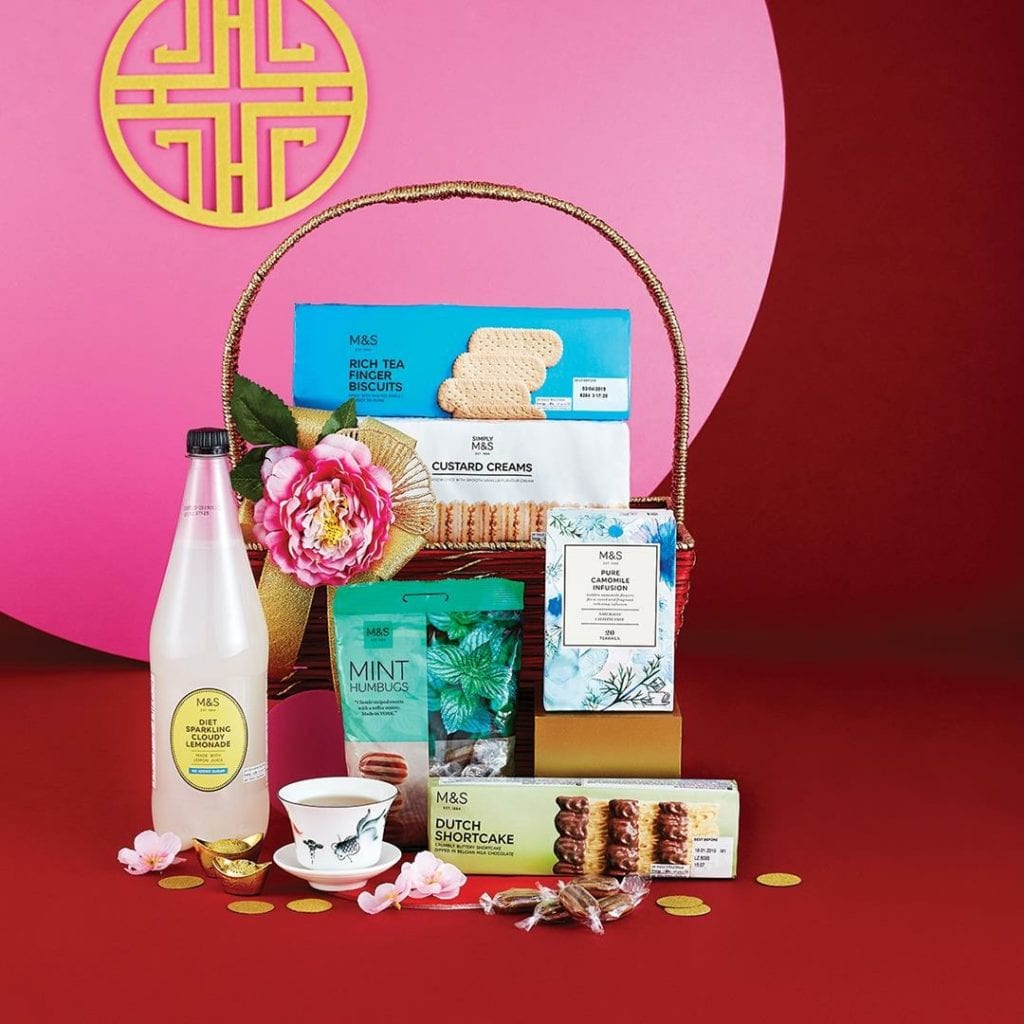 hamper with Marks & Spencer treats