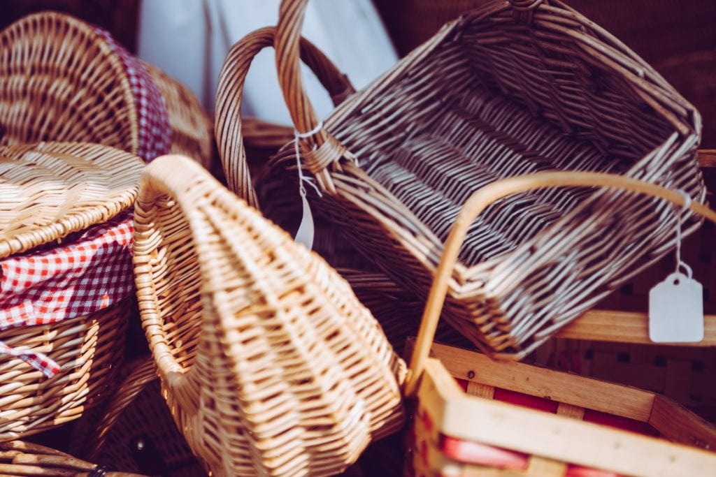 cane baskets in various sizes