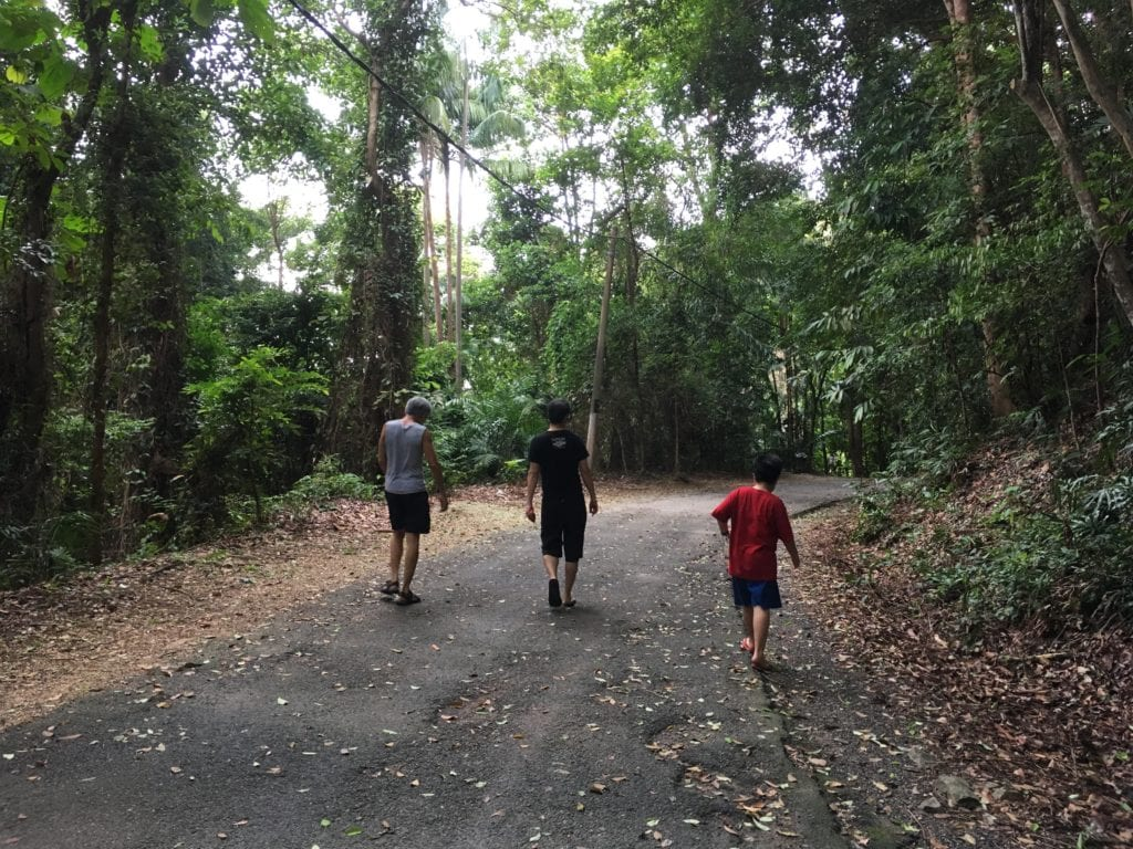 Tg. Tuan Recreational Forest trail with 3 trekkers