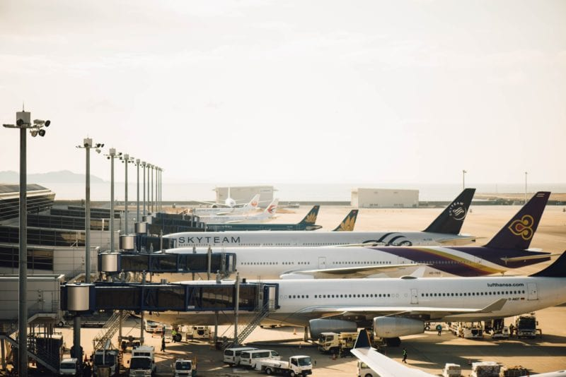 airplanes at the airport