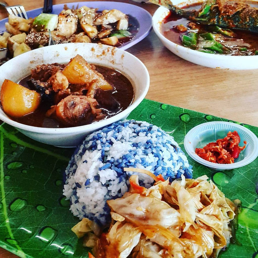 ayam pongteh dish served with blue coloured rice