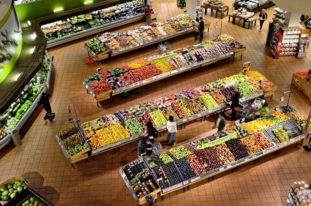 aerial view of supermarket