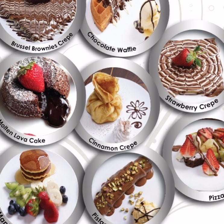 variety of choc desserts on white platters