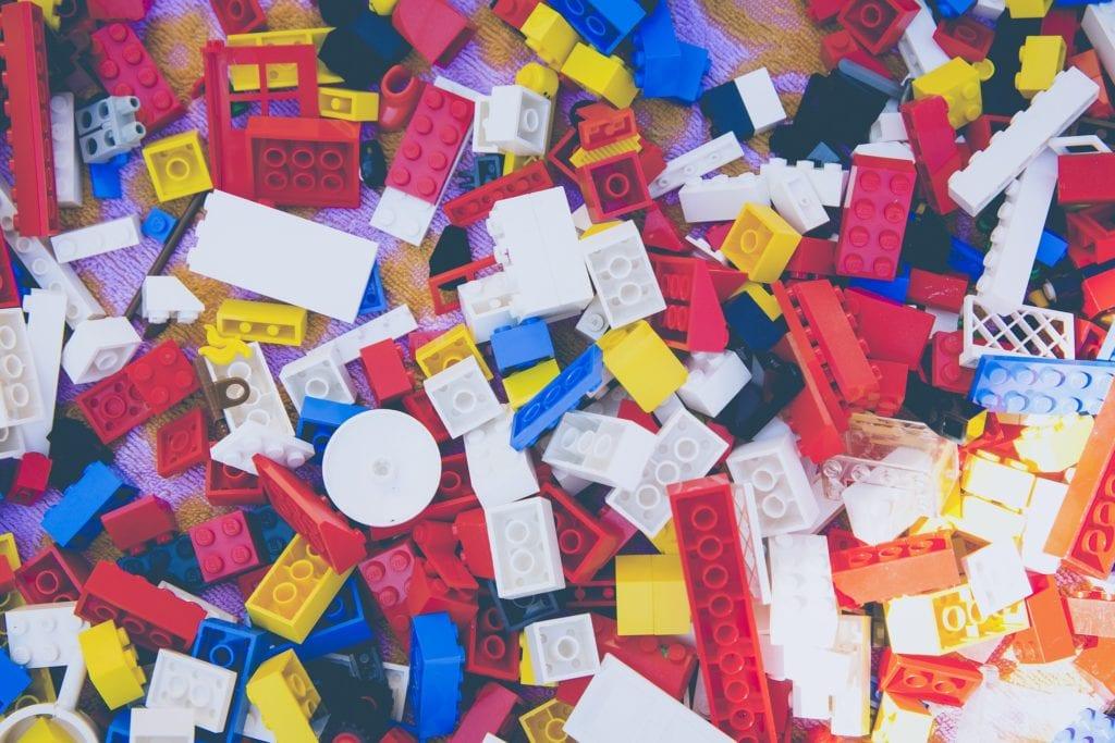 LEGO bricks in many colours