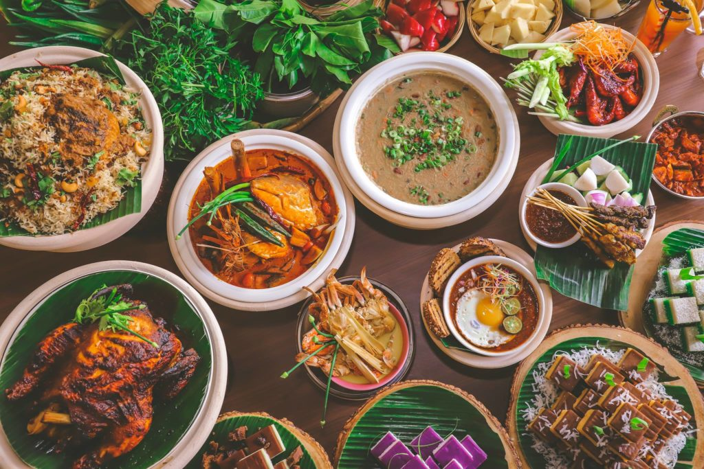 wide selection of food on long table