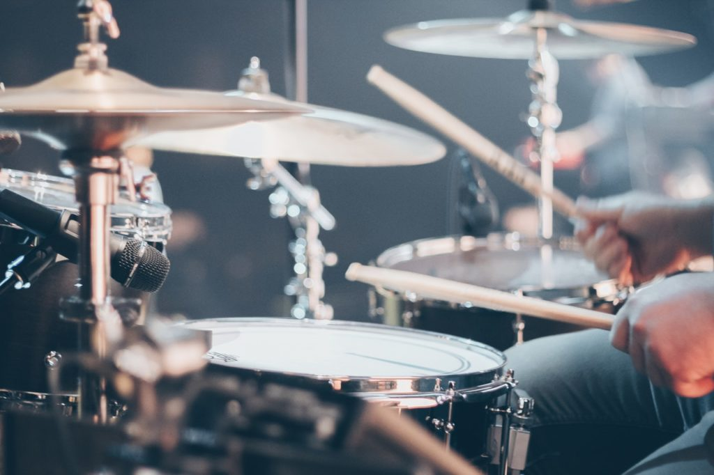 drum set in live band