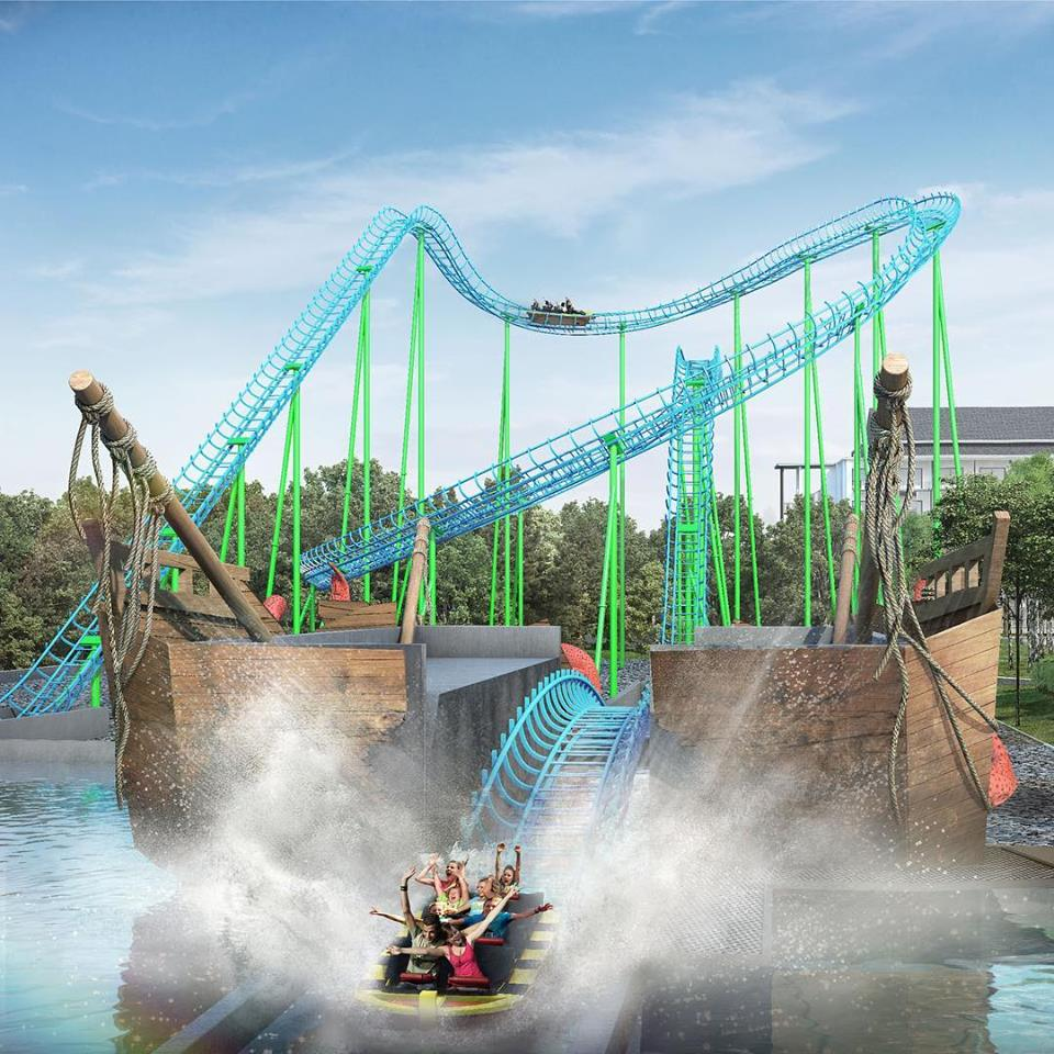 Water Coaster ride that splashes into the pool