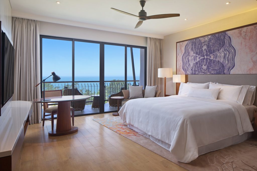 Room interiors at the Westin with windows opening to blue skies