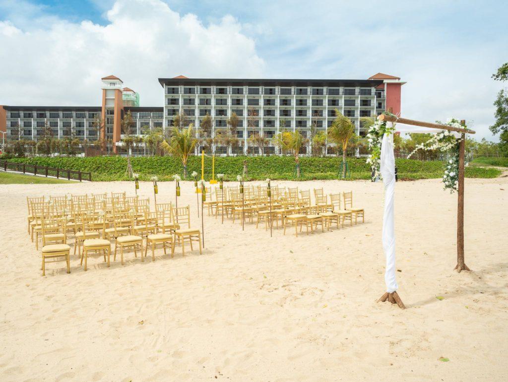 Beachfront at The Westin with wedding decor