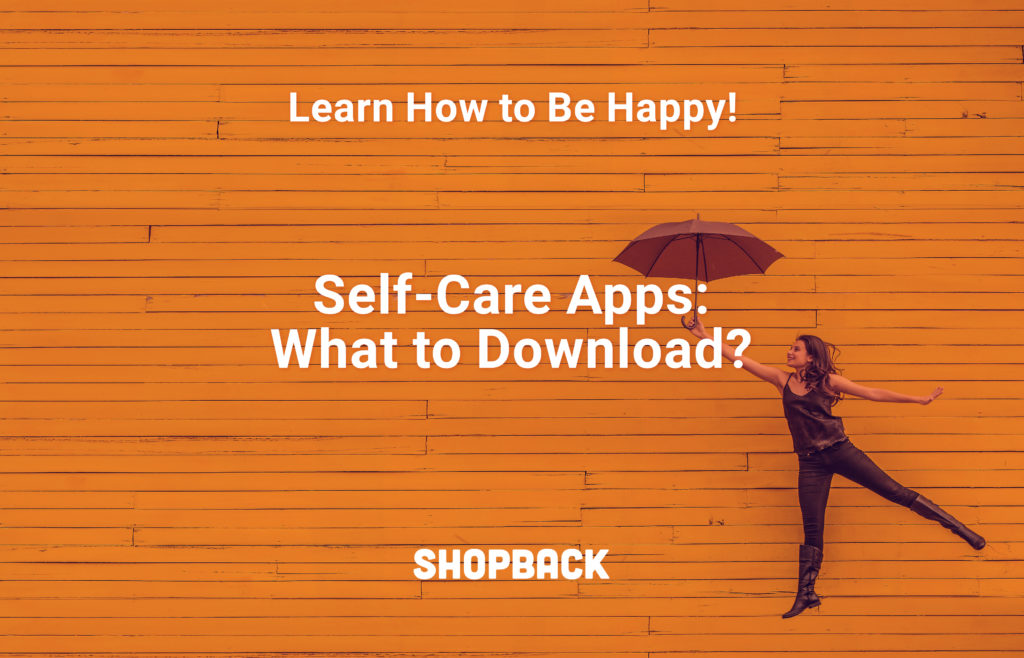 blog header self care apps woman holding umbrella