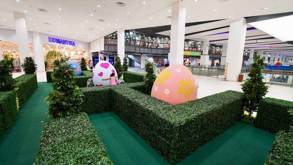 Easter eggs deco around the mall