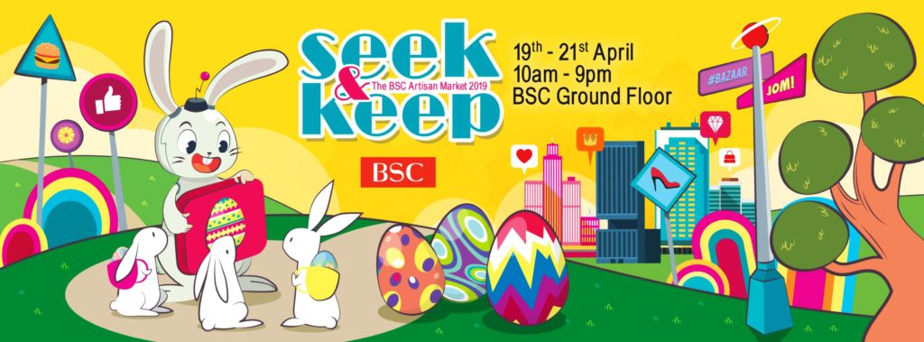 Seek & Keep artisan market poster with bunny and coloured eggs