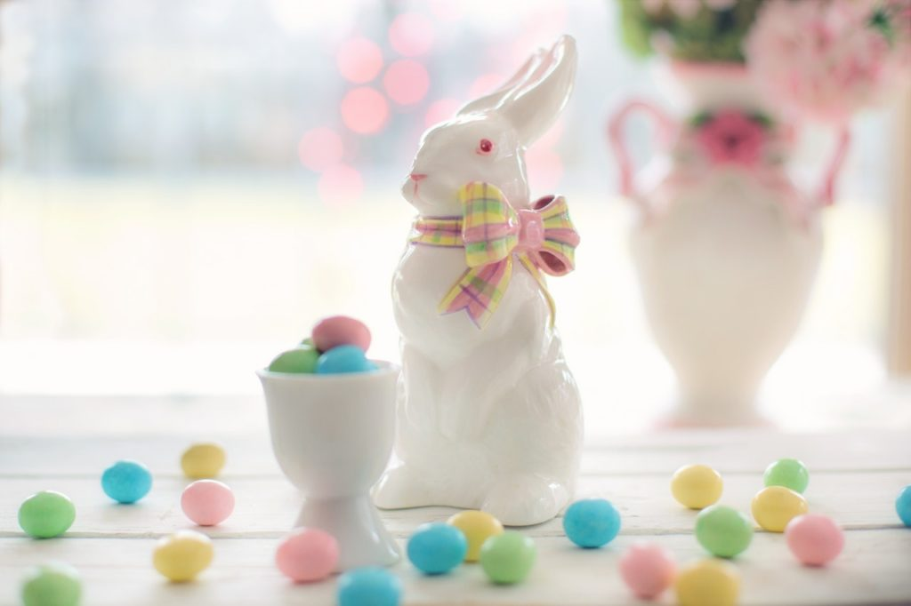 white bunny deco with coloured eggs