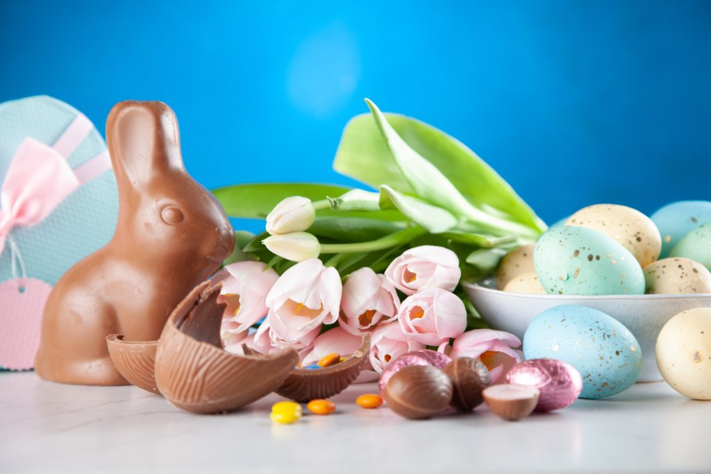 choc bunnies and eggs on blue background